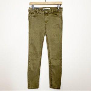 [Zara] Army Green Mid Rise Skinny Jeans Pants